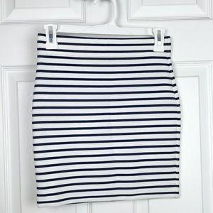Forever21 cream and navy stripes mini skirt